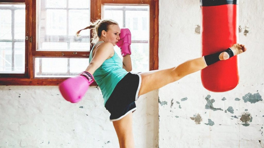 Kick boxing to reduce stress